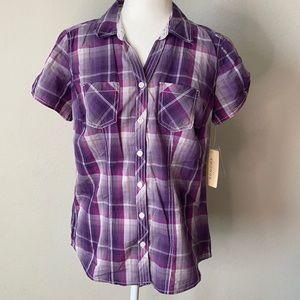 Sonoma Button Up Shirt Purple Plaid Cotton PM